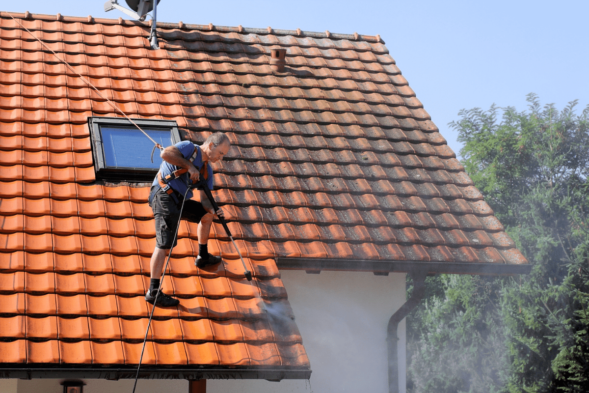 power wash a roof